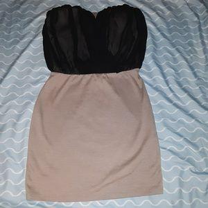 Body C strapless beige and black dress, size L